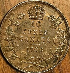 1902 CANADA SILVER 10 CENTS COIN   EXCELLENT TONED EXAMPLE