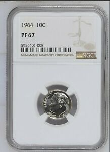 1964 USA 10 CENT NGC PF 67 SILVER ROOSEVELT PROOF DIME 10C