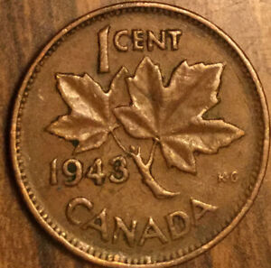 1943 CANADA SMALL CENT PENNY COIN