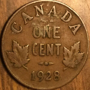 1928 CANADA SMALL CENT PENNY COIN