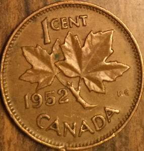 1952 CANADA SMALL CENT PENNY COIN