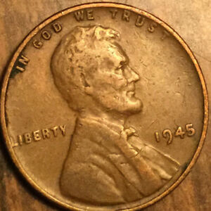 1945 USA LINCOLN WHEAT SMALL CENT PENNY