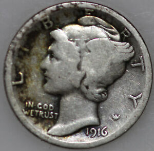 1916 P MERCURY DIME 90  SILVER. YOU WILL RECEIVE THE COIN SHOWN