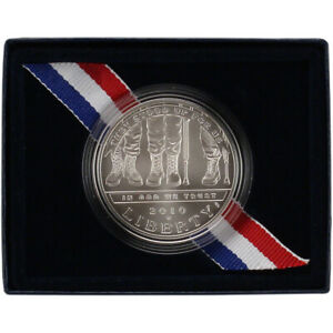 2010 W US AMERICAN VETERANS DISABLED FOR LIFE COMMEMORATIVE BU SILVER DOLLAR