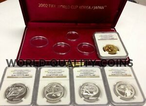 Click now to see the BUY IT NOW Price! SOUTH KOREA 2002 COLORIZED SET 5 GOLD/SILVER COINS FIFA WORLD CUP SOCCER NGC BOX