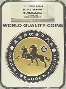Click now to see the BUY IT NOW Price! 2002 GHANA 1/2 KILO SILVER GOLD PLATED 1000 SIKA YEAR OF THE HORSE NGC PF67