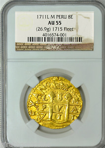 Click now to see the BUY IT NOW Price! PERU GOLD COIN 1711 COB 8 ESCUDOS NGC 55 SUNKEN TREASURE PLATE FLEET DOUBLOON