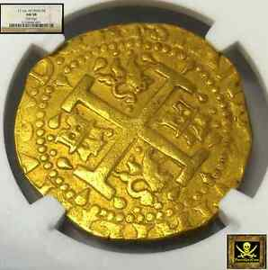 Click now to see the BUY IT NOW Price! PERU 8 ESCUDOS GOLD DOUBLOON 1716 NGC 58