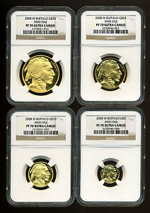 Click now to see the BUY IT NOW Price! 2008 W BUFFALO 4 PIECE GOLD COIN SET $50 $5 CERTIFED NGC PROOF 70 ULTRA CAMEO