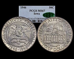 Click now to see the BUY IT NOW Price! 1946 IOWA PCGS CAC MS 67    OGH   STRONG MINT LUSTER