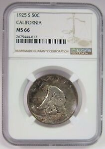 Click now to see the BUY IT NOW Price! 1925 S CALIFORNIA DIAMOND JUBILEE HALF DOLLAR .50C NGC MS 66 RAINBOW TONING