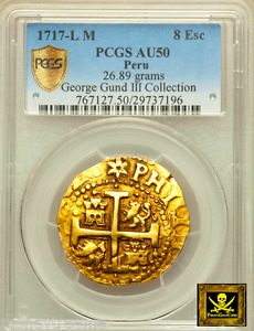 Click now to see the BUY IT NOW Price! PERU 8 ESCUDOS GOLD DOUBLOON COB 1717 NGC 50 FINEST ONLY 1 KNOWN  PHILIP V COIN