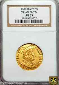Click now to see the BUY IT NOW Price! ITALY MILAN PHILIP IV OF SPAIN GOLD QUADRUPLA  2 DOPPIE  COIN 1630 NGC AU55 3 KN