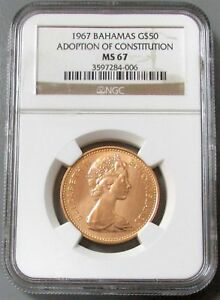 Click now to see the BUY IT NOW Price! 1967 GOLD BAHAMAS $50 CONSTITUTION NGC MINT STATE 67 ONLY 1 000 MINTED