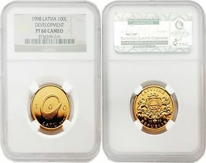 Click now to see the BUY IT NOW Price! LATVIA 1998 DEVELOPMENT 100 LATU GOLD NGC PF 66 CAMEO