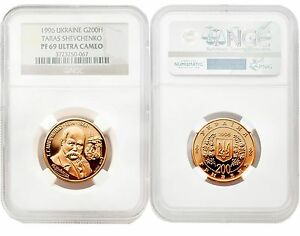 Click now to see the BUY IT NOW Price! UKRAINE 1996 TARAS SHEVCHENKO 200 HRYVNIA GOLD NGC PF69 ULTRA CAMEO