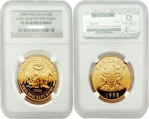 Click now to see the BUY IT NOW Price! TANZANIA 1998 LION CHEETAH AND ZEBRA 10K SHILINGI GOLD NGC PF69 ULTRA CAMEO