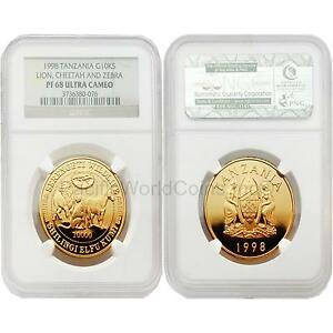 Click now to see the BUY IT NOW Price! TANZANIA 1998 LION CHEETAH AND ZEBRA 10K SHILINGI GOLD NGC PF68 ULTRA CAMEO