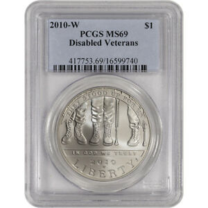 2010 W US VETERANS DISABLED FOR LIFE COMMEMORATIVE BU SILVER DOLLAR   PCGS MS69