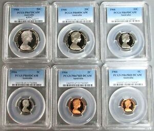 Click now to see the BUY IT NOW Price! 1966 AUSTRALIA 6 COIN PROOF SET PCGS CERTIFIED PROOF 65   68 DEEP CAMEO'S