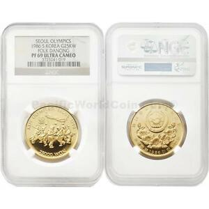 Click now to see the BUY IT NOW Price! SOUTH KOREA 1986 SEOUL OLYMPIC FOLK DANCING 25 000 WON WON 1/2 OZ. GOLD NGC PF69