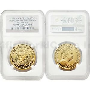 Click now to see the BUY IT NOW Price! ISLE OF MAN 2003 GOLDEN AGE OF ELIZABETH I CROWN GOLD NGC PF69 ULTRA CAMEO