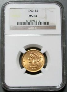 1900 GOLD $5 LIBERTY HEAD MOTTO HALF EAGLE NGC MINT STATE 64