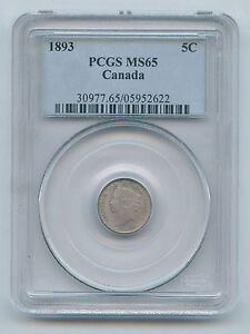 Click now to see the BUY IT NOW Price! 1893 CANADA SILVER 5 CENT HALF DIME PCGS MS 65