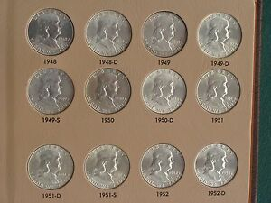 Click now to see the BUY IT NOW Price! FRANKLIN SILVER HALF DOLLAR UNCIRCULATED COMPLETE 1948   1963  54 COINS PROOFS