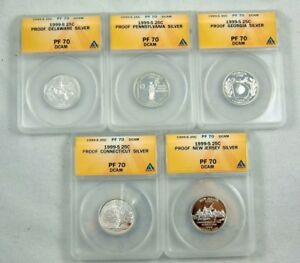 Click now to see the BUY IT NOW Price! 1999 S COMPLETE PF 70 DCAM SILVER STATE QUARTER SET DELAWARE NJ PA CT GA ANACS