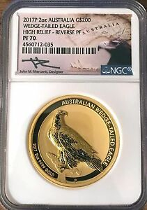 Click now to see the BUY IT NOW Price! 2017 P 2 OZ. GOLD WEDGE TAILED EAGLE REVERSE NGC PF 70 HAND SIGN JOHN MERCANTI