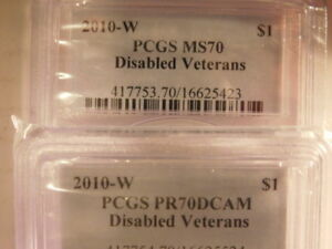 Click now to see the BUY IT NOW Price! 2010 W $1 DISABLED VETERANS   PCGS GRADED PF70 & MS70