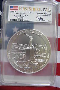 Click now to see the BUY IT NOW Price! PCGS SP70 2011 GETTYSBURG  NP FIRST STRIKE MERCANTI 5 OZ SILVER ATB