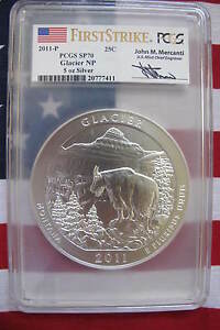 Click now to see the BUY IT NOW Price! PCGS SP70 2011 GLACIER NP FIRST STRIKE MERCANTI 5 OZ SILVER ATB