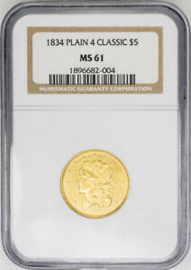 Click now to see the BUY IT NOW Price! 1834 $5 PLAIN 4 CLASSIC HEAD HALF EAGLE   NGC MS61    COIN