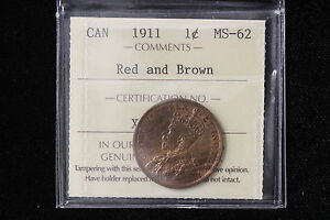 Click now to see the BUY IT NOW Price! 1911 CANADA. LARGE CENT. ICCS GRADED MS 62 RB.  XOL517