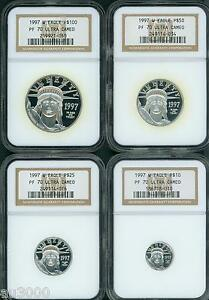 Click now to see the BUY IT NOW Price! 1997 W PROOF PLATINUM EAGLE NGC PR70 PF70 4 COINS SET $100 $50 $25 $10