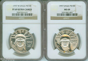 Click now to see the BUY IT NOW Price! 1997 P & 1997 W $100 PLATINUM EAGLE STATUE LIBERTY NGC MS69 PF69 PR69 2 COIN SET
