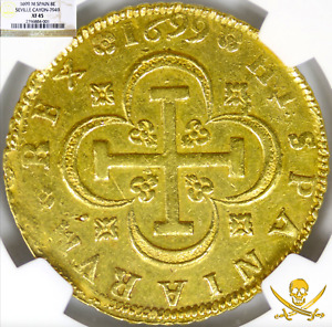 Click now to see the BUY IT NOW Price! SPAIN 1699 8 ESCUDOS NGC 45 GOLD DOUBLOON TREASURE COIN CHARLES II