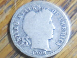 1908 P BARBER DIME  SELLER'S  576 BUY MULTIPLE COINS PAY ONE COIN SHIPPING FEE