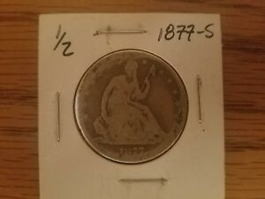 1877 S SEATED LIBERTY 90  SILVER HALF DOLLAR FIFTY CENT
