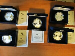 2012 W PROOF SILVER EAGLE 1 OZ. LOT OF 5 WITH BOX AND COA