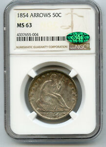 1854 WITH ARROWS 50C SEATED LIBERTY SILVER HALF DOLLAR NGC / CAC MS 63