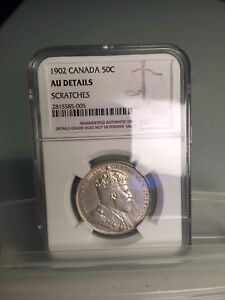 Click now to see the BUY IT NOW Price! 1902 CANADIAN SILVER 50 CENTS NGC AU DETAILS
