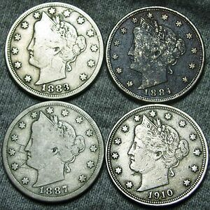 1883 W/CENTS  1884  1887  1910 LIBERTY V NICKELS     SOME DAMAGES     W370