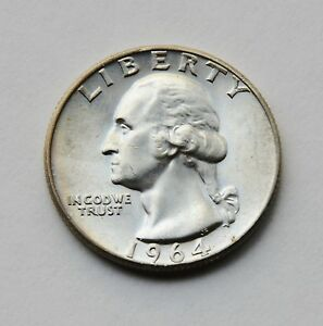 1964 D 25C WASHINGTON QUARTER TONED UNC.