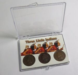 LOT OF 3 INDIAN HEAD CENTS IN SNAP CASE 1903 1898 1907 COMBINED SHIPPING LOT P02