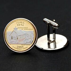 2004 IOWA STATE QUARTER HOLOGRAM COIN SILVER PLATED CUFFLINKS NEW