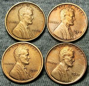 1909 VDB  1920  1928 D  1930 LINCOLN WHEAT CENTS     STUNNING DETAILS     N822