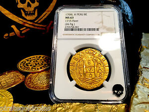 Click now to see the BUY IT NOW Price! PERU 8 ESCUDOS 1708  NGC 63 1715 FLEET FINEST KNOWN OF 10 GOLD COB DOUBLOON COIN